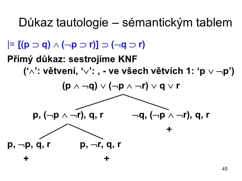 Důkaz tautologie – sémantickým tablem