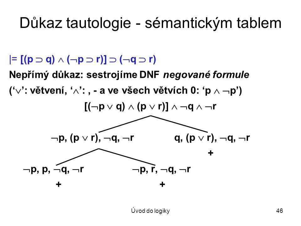 Důkaz tautologie - sémantickým tablem
