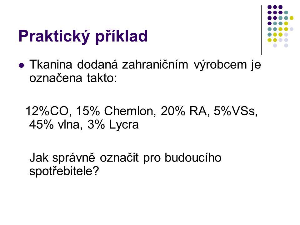 Praktický příklad Tkanina dodaná zahraničním výrobcem je označena takto: 12%CO, 15% Chemlon, 20% RA, 5%VSs, 45% vlna, 3% Lycra.