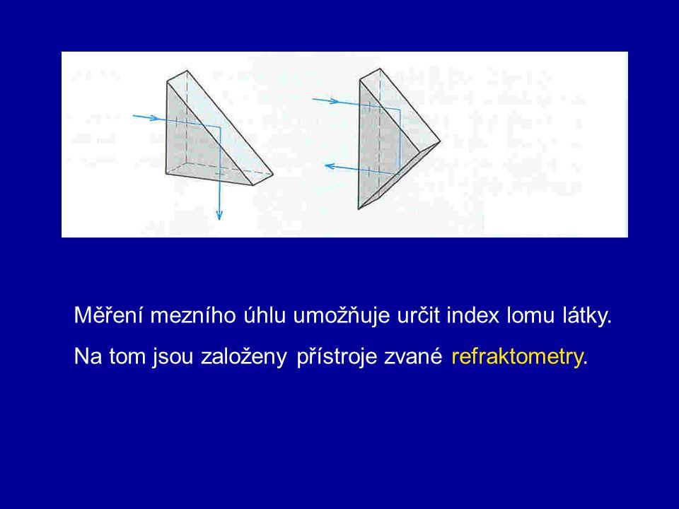 Měření mezního úhlu umožňuje určit index lomu látky.