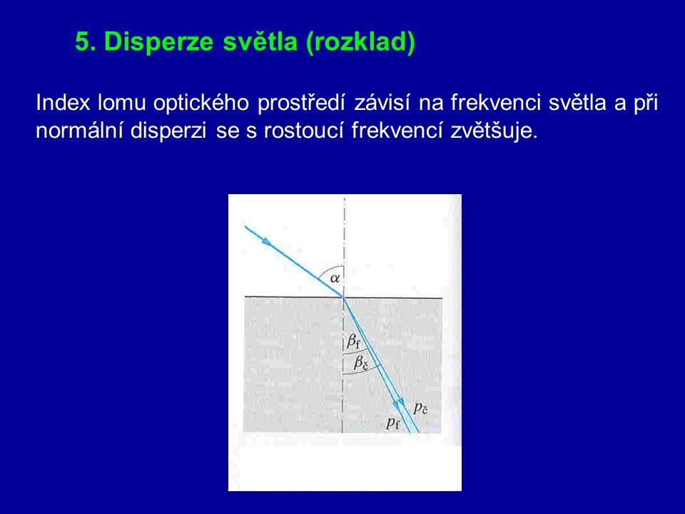 5. Disperze světla (rozklad)