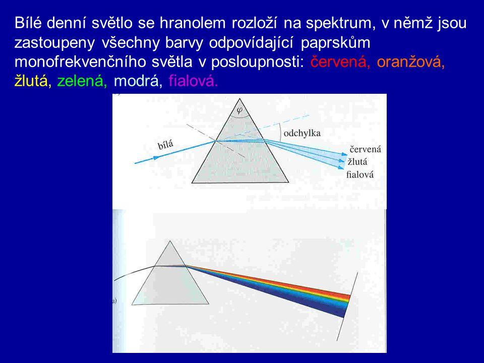 Bílé denní světlo se hranolem rozloží na spektrum, v němž jsou zastoupeny všechny barvy odpovídající paprskům monofrekvenčního světla v posloupnosti: červená, oranžová, žlutá, zelená, modrá, fialová.