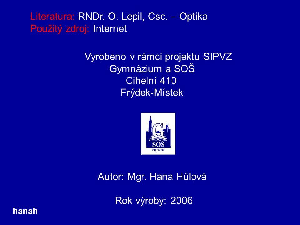 Literatura: RNDr. O. Lepil, Csc. – Optika Použitý zdroj: Internet