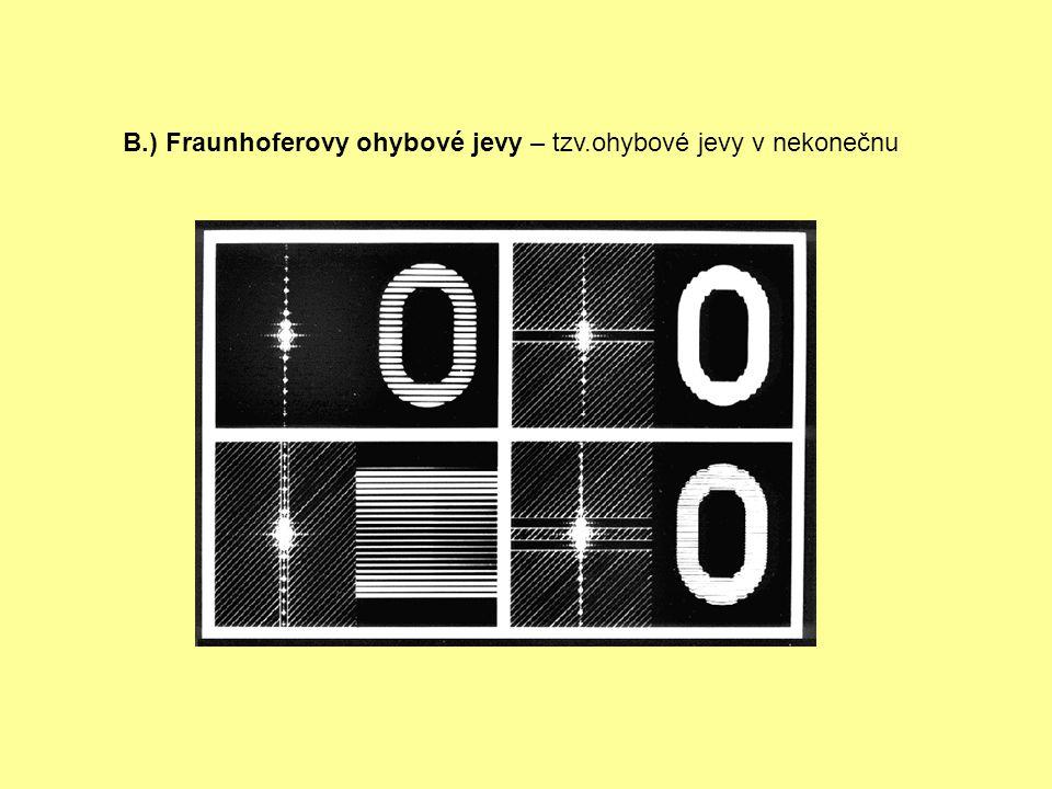 B.) Fraunhoferovy ohybové jevy – tzv.ohybové jevy v nekonečnu