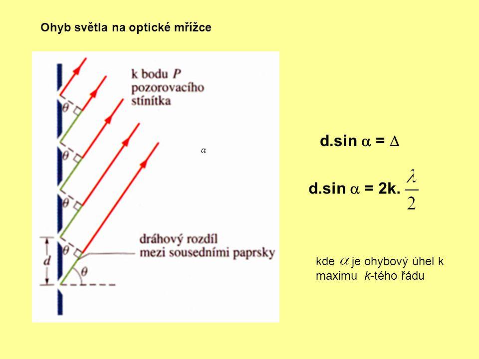 d.sin  =  d.sin  = 2k. Ohyb světla na optické mřížce