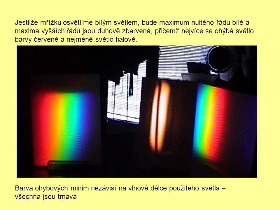 Jestliže mřížku osvětlíme bílým světlem, bude maximum nultého řádu bílé a
