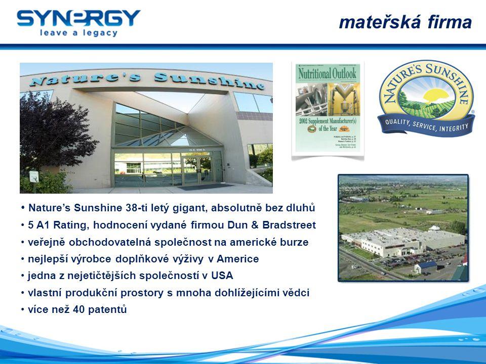 mateřská firma Nature's Sunshine 38-ti letý gigant, absolutně bez dluhů. 5 A1 Rating, hodnocení vydané firmou Dun & Bradstreet.