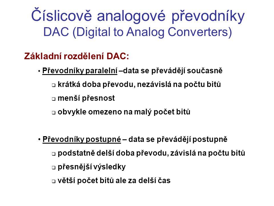 Číslicově analogové převodníky DAC (Digital to Analog Converters)