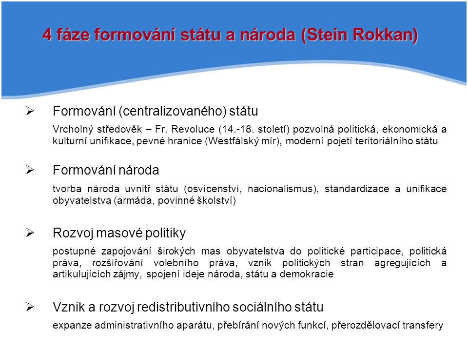 4 fáze formování státu a národa (Stein Rokkan)