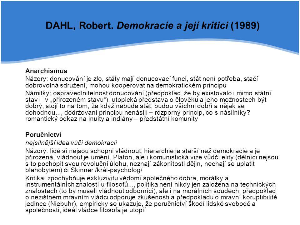 DAHL, Robert. Demokracie a její kritici (1989)