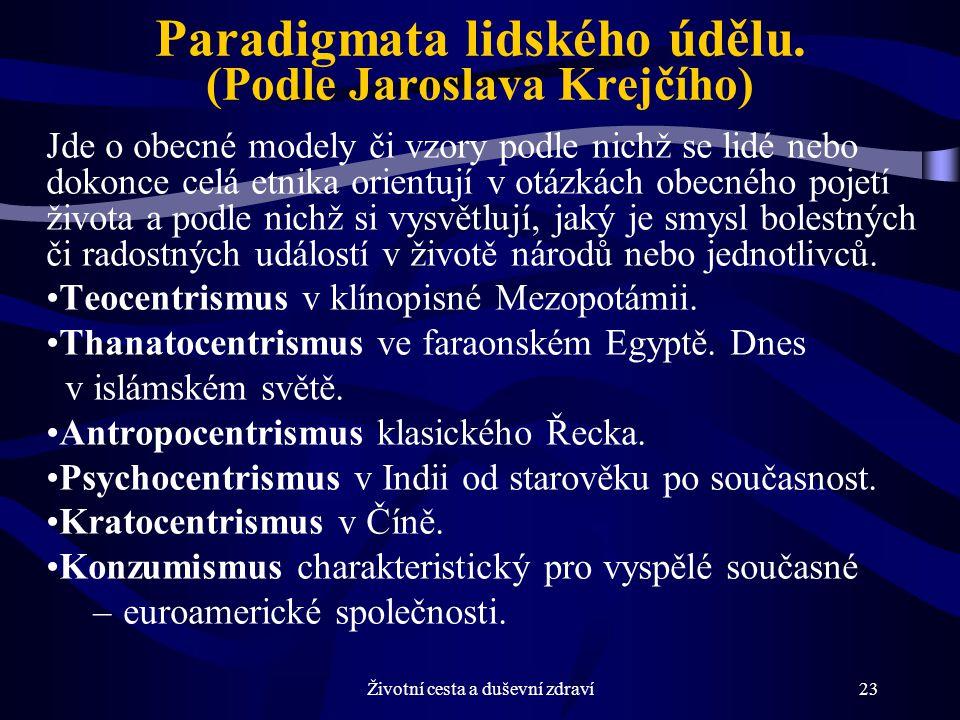 Paradigmata lidského údělu. (Podle Jaroslava Krejčího)