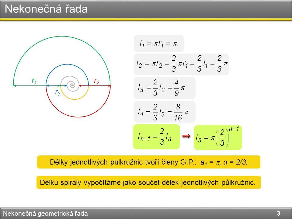 Délky jednotlivých půlkružnic tvoří členy G.P.: a1 = , q = 2/3.