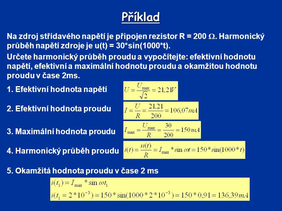 Příklad Na zdroj střídavého napětí je připojen rezistor R = 200 . Harmonický průběh napětí zdroje je u(t) = 30*sin(1000*t).