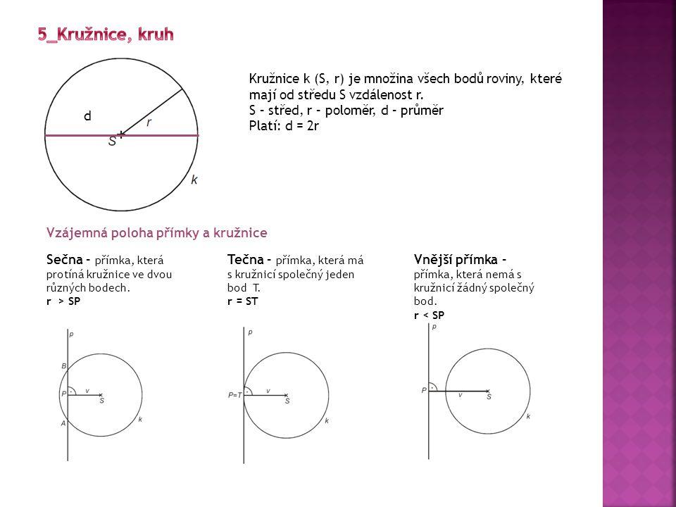 5_Kružnice, kruh Kružnice k (S, r) je množina všech bodů roviny, které mají od středu S vzdálenost r.