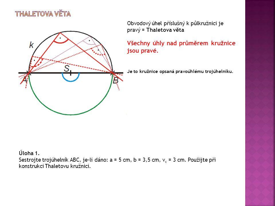 Thaletova věta ∙ ∙ ∙ ∙ Všechny úhly nad průměrem kružnice jsou pravé.