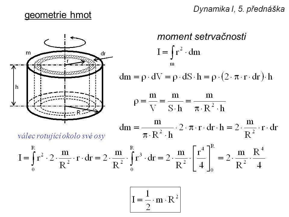 geometrie hmot moment setrvačnosti Dynamika I, 5. přednáška