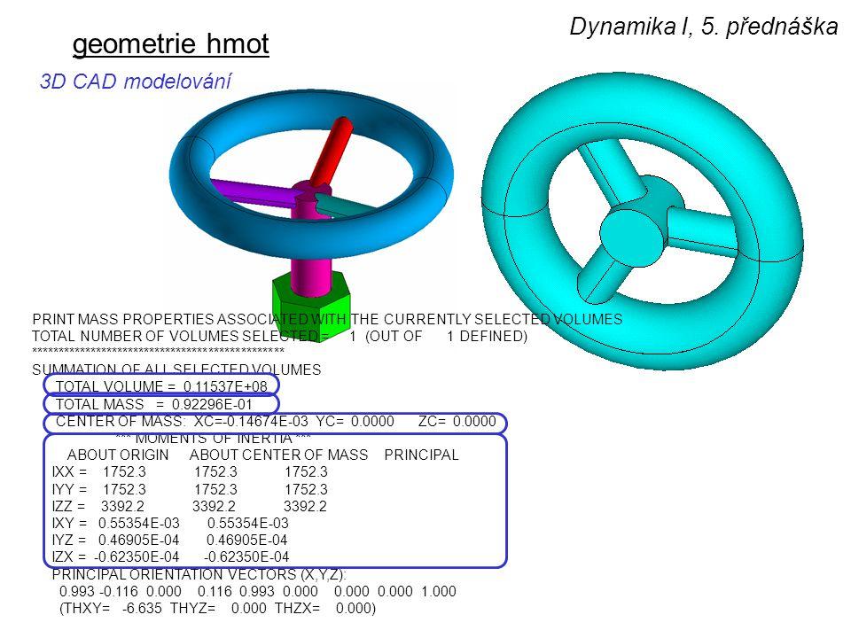geometrie hmot Dynamika I, 5. přednáška 3D CAD modelování