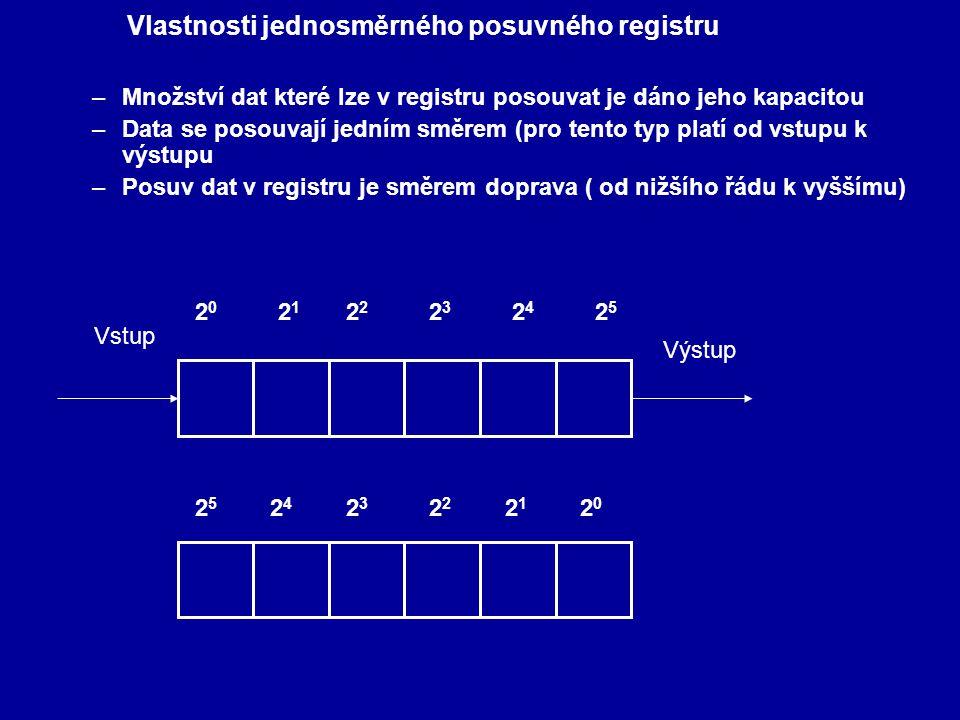 Vlastnosti jednosměrného posuvného registru