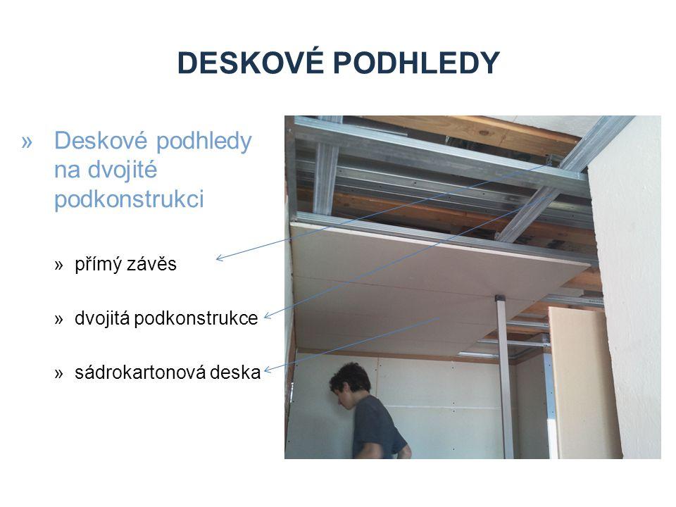 Deskové podhledy Deskové podhledy na dvojité podkonstrukci přímý závěs