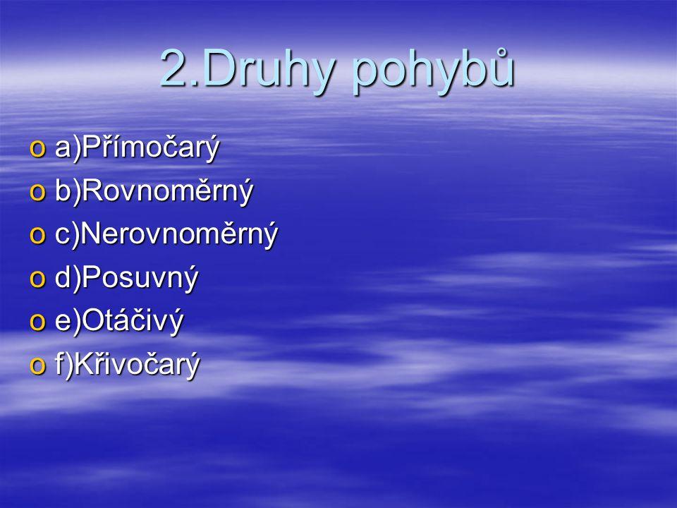2.Druhy pohybů a)Přímočarý b)Rovnoměrný c)Nerovnoměrný d)Posuvný