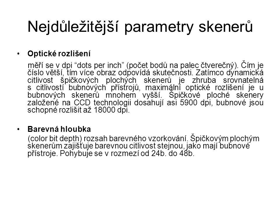 Nejdůležitější parametry skenerů