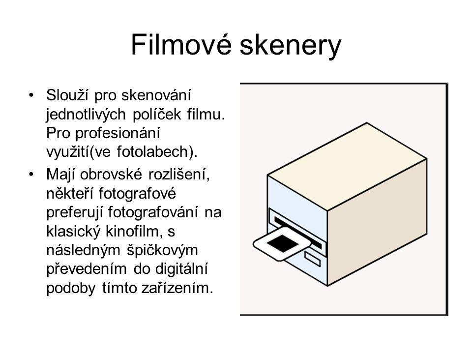 Filmové skenery Slouží pro skenování jednotlivých políček filmu. Pro profesionání využití(ve fotolabech).
