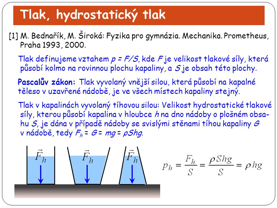 Tlak, hydrostatický tlak