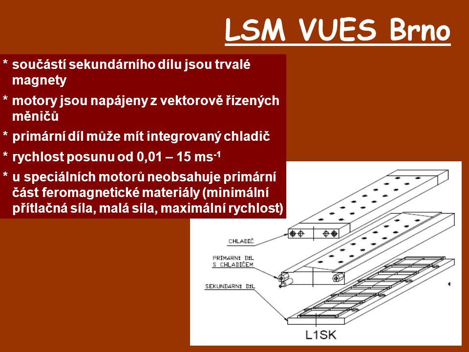 LSM VUES Brno * součástí sekundárního dílu jsou trvalé magnety