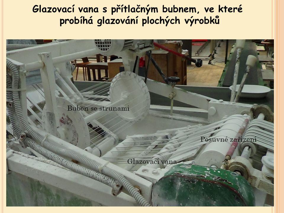 Glazovací vana s přítlačným bubnem, ve které