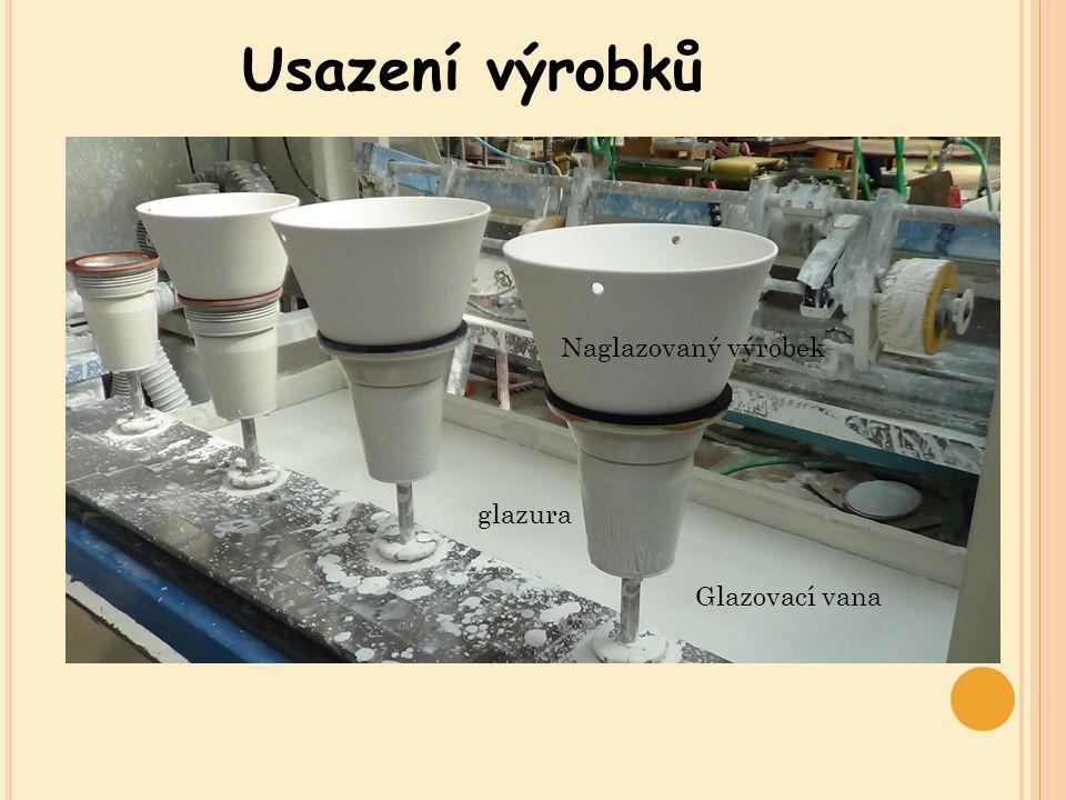 Usazení výrobků Naglazovaný výrobek glazura Glazovací vana