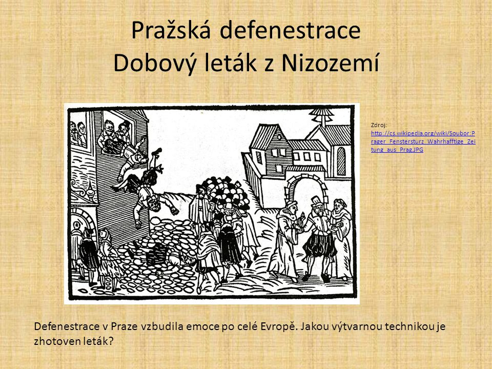 Pražská defenestrace Dobový leták z Nizozemí