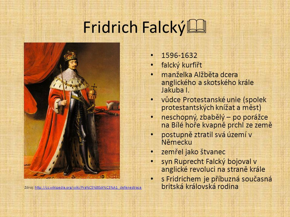 Fridrich Falcký 1596-1632 falcký kurfiřt