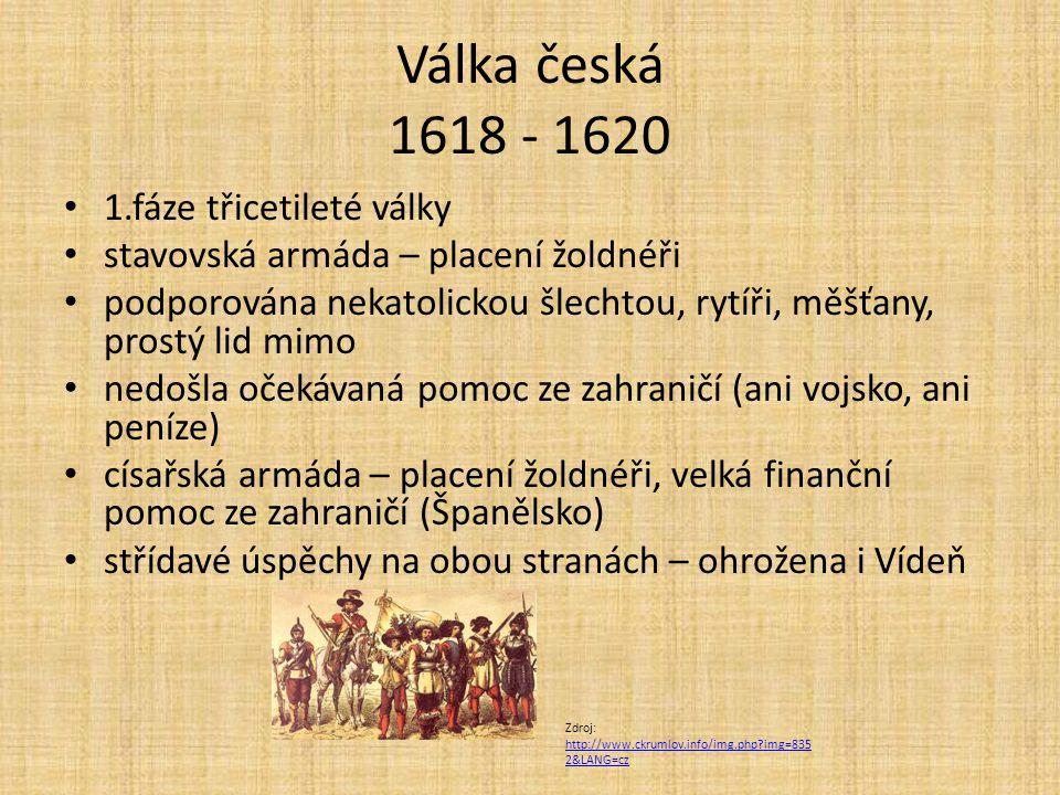 Válka česká 1618 - 1620 1.fáze třicetileté války