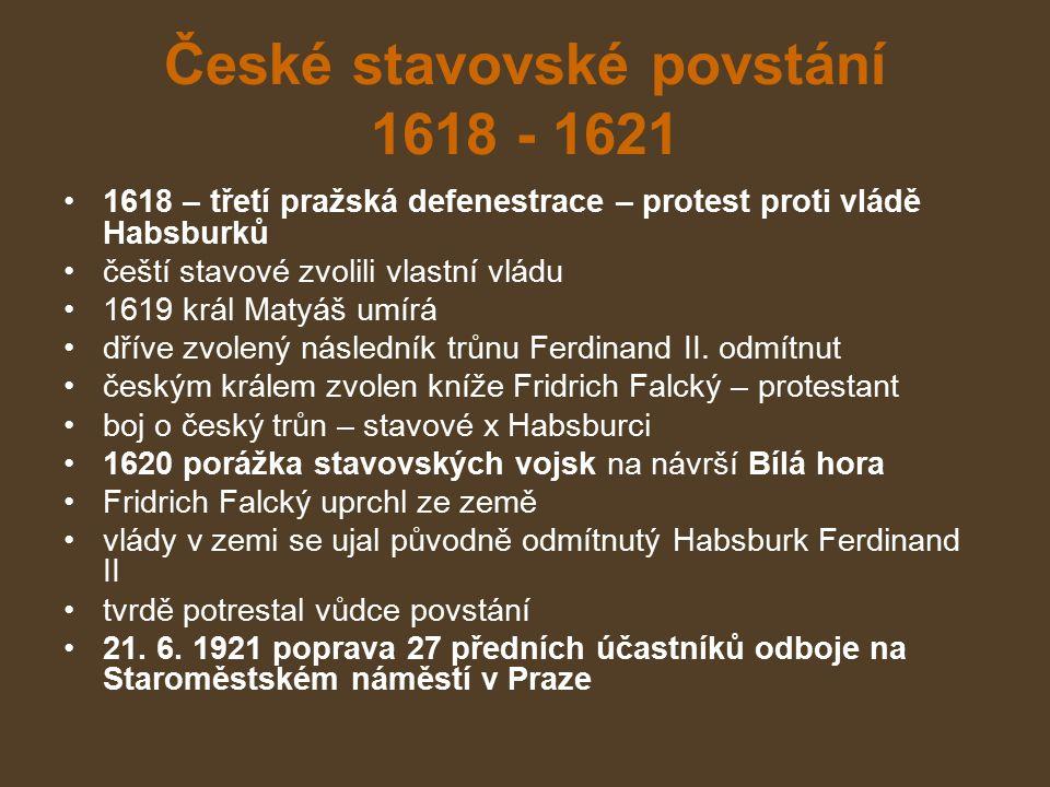České stavovské povstání 1618 - 1621