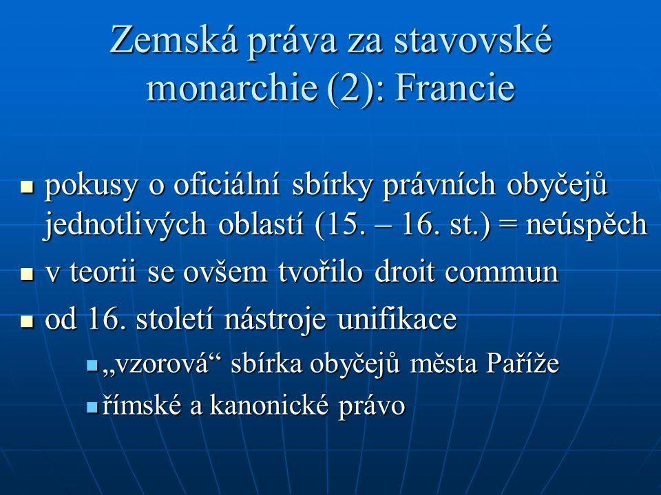Zemská práva za stavovské monarchie (2): Francie