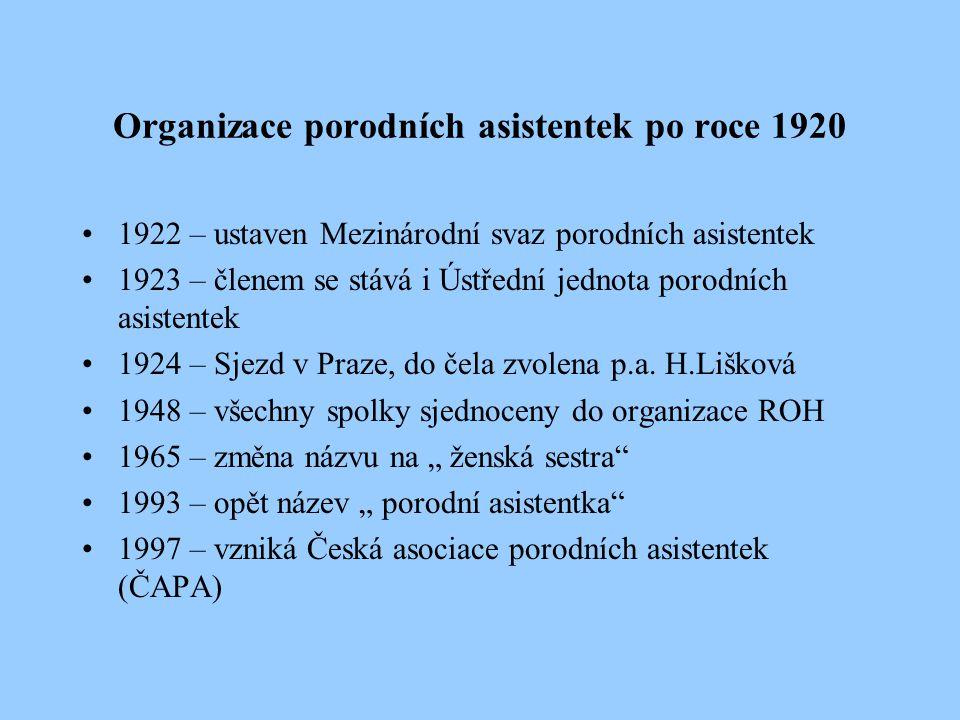 Organizace porodních asistentek po roce 1920