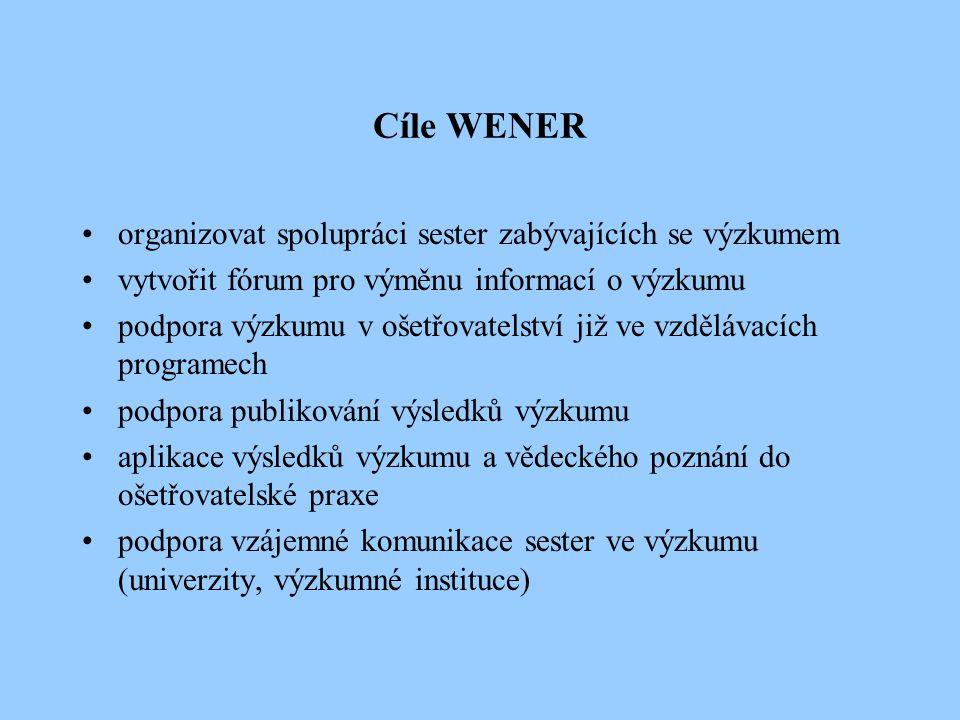 Cíle WENER organizovat spolupráci sester zabývajících se výzkumem