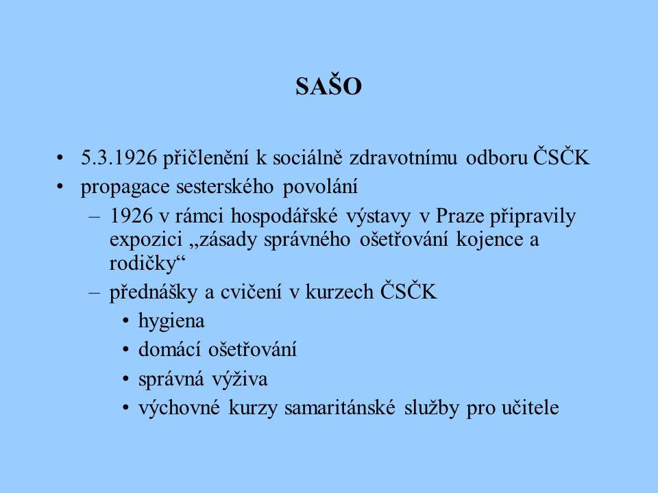 SAŠO 5.3.1926 přičlenění k sociálně zdravotnímu odboru ČSČK