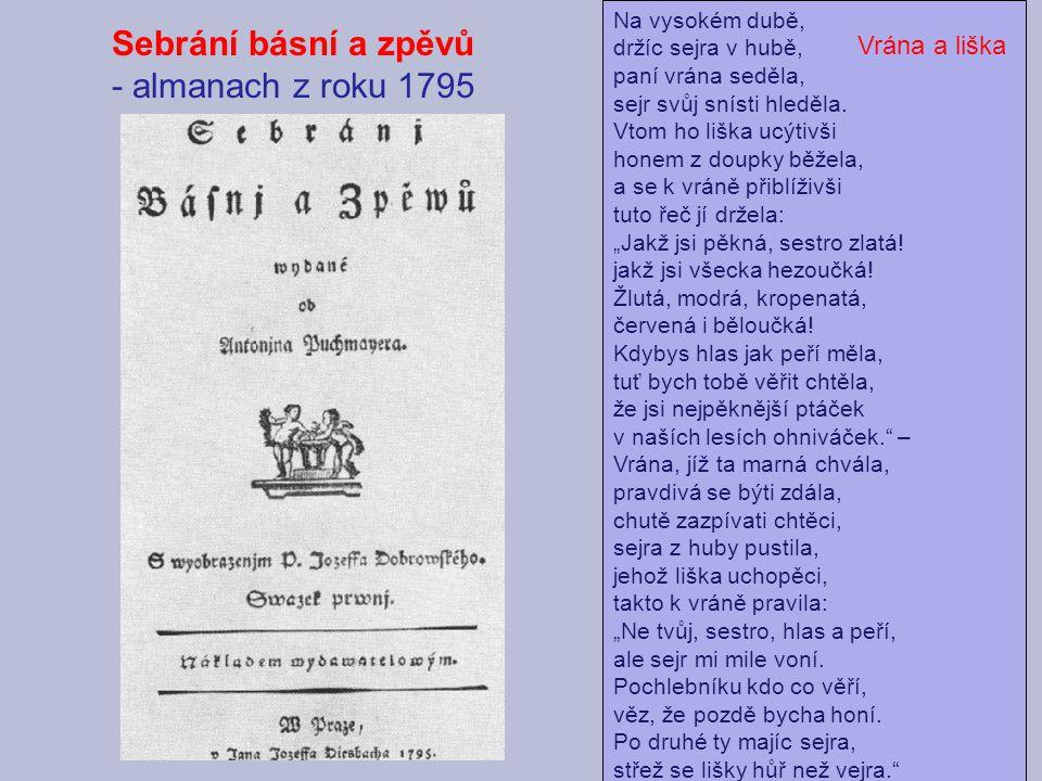 Sebrání básní a zpěvů - almanach z roku 1795 Vrána a liška