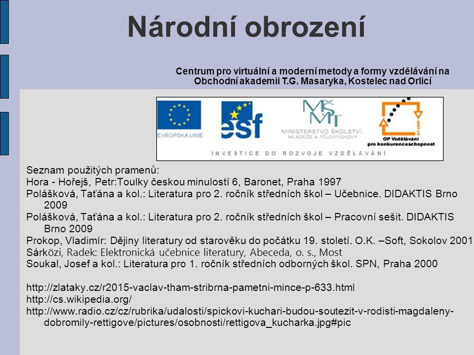 Národní obrození Seznam použitých pramenů: