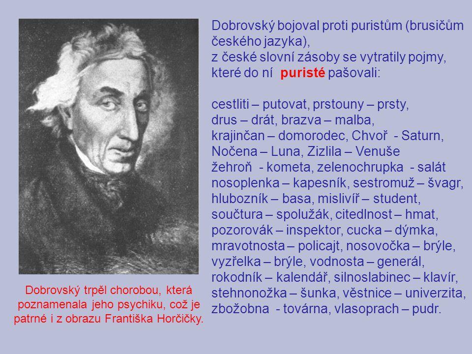 Dobrovský bojoval proti puristům (brusičům českého jazyka),