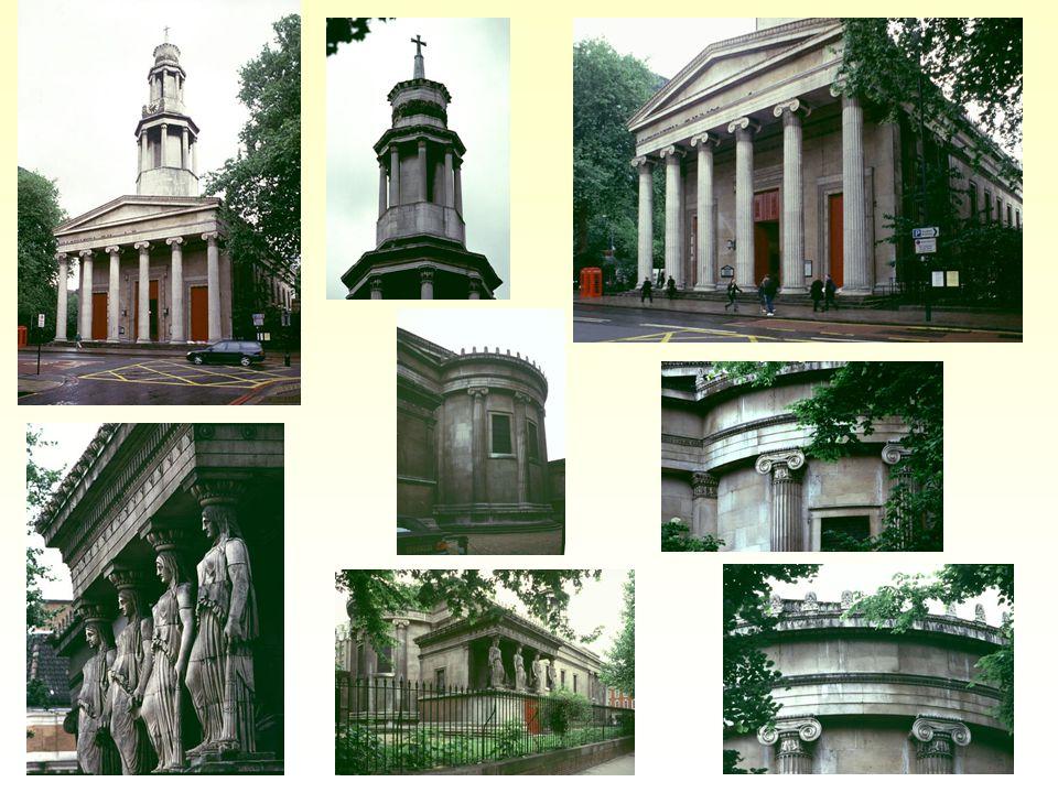 Kostel Sv. Pankráce v Londýně; architekt William Inwood (stavba 1818-1822); vzorová stavba novořeckého slohu