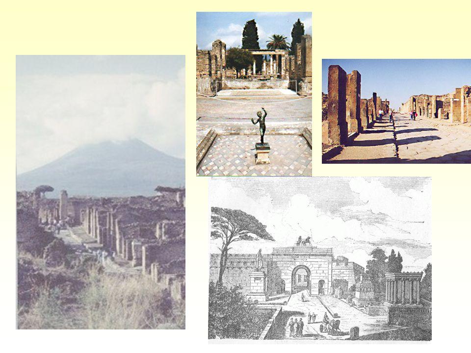 Pompeje: v pozadí s Vesuvem; Faunův dům; Ulice hojnosti; brána do Pompeje zvaná Herkulaneum