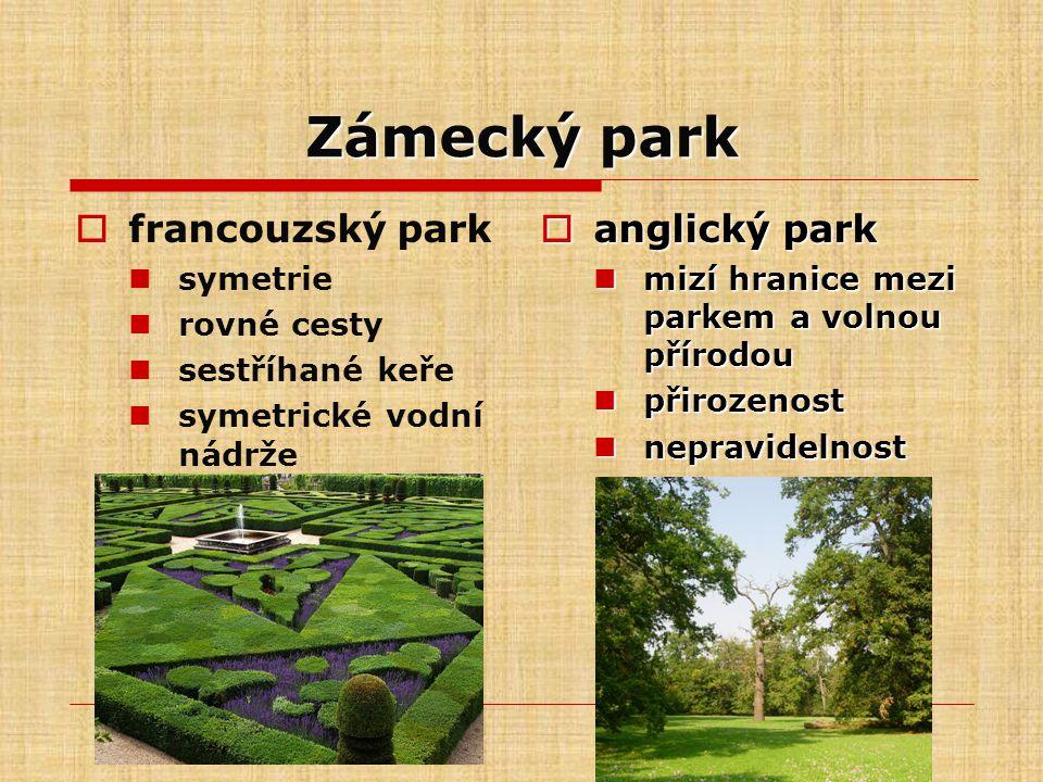 Zámecký park francouzský park anglický park symetrie rovné cesty