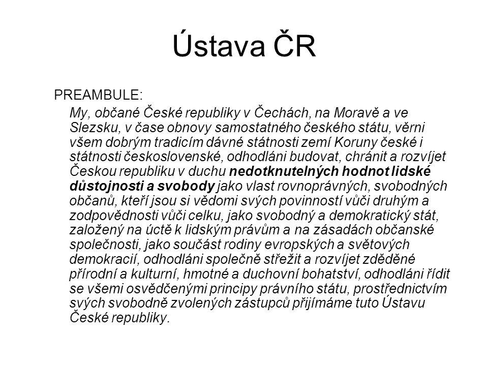 Ústava ČR PREAMBULE: