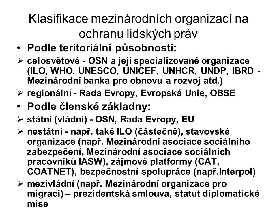 Klasifikace mezinárodních organizací na ochranu lidských práv
