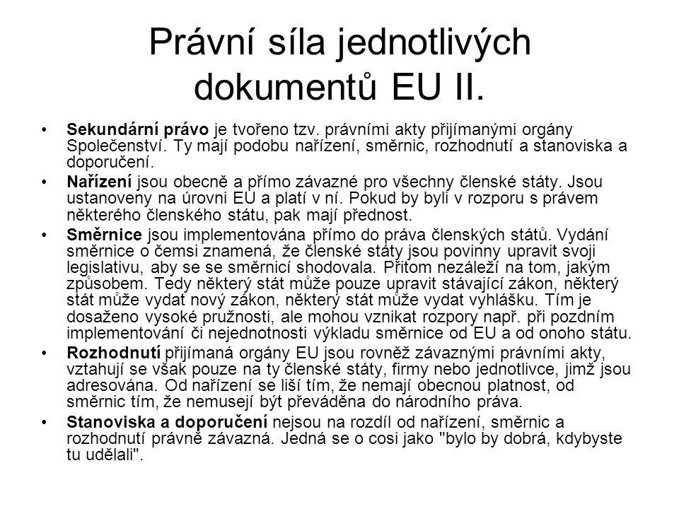 Právní síla jednotlivých dokumentů EU II.