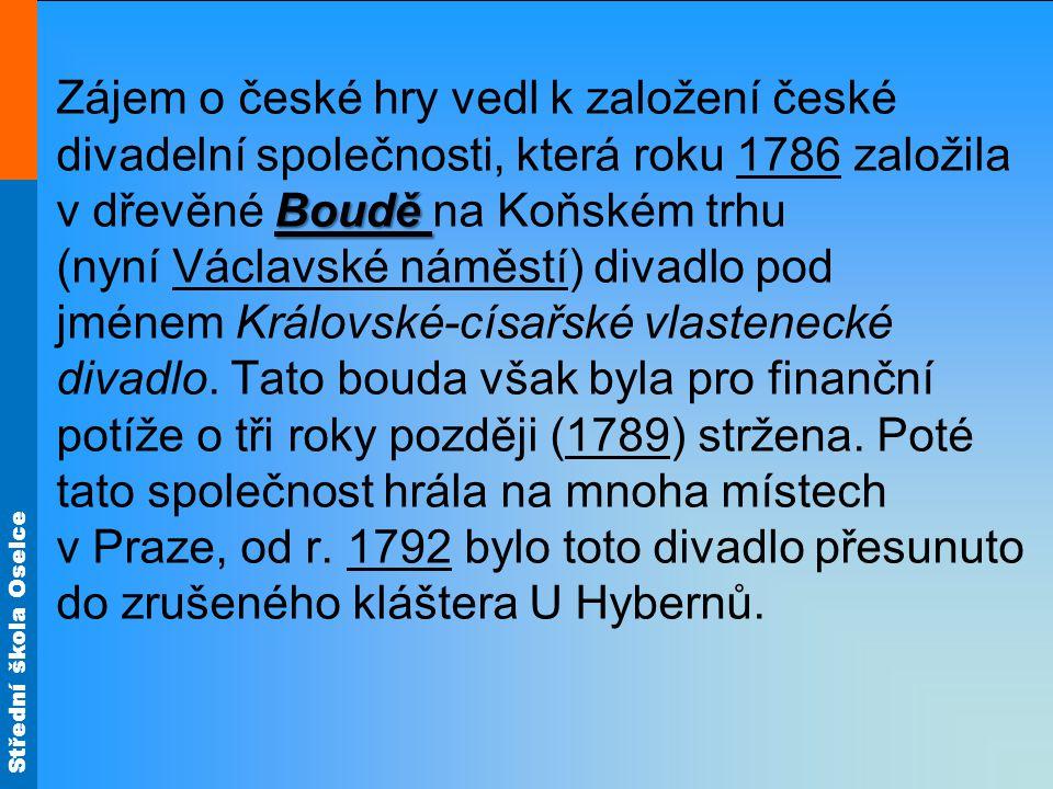 Zájem o české hry vedl k založení české divadelní společnosti, která roku 1786 založila v dřevěné Boudě na Koňském trhu (nyní Václavské náměstí) divadlo pod jménem Královské-císařské vlastenecké divadlo.