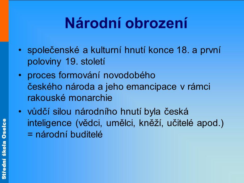 Národní obrození společenské a kulturní hnutí konce 18. a první poloviny 19. století.