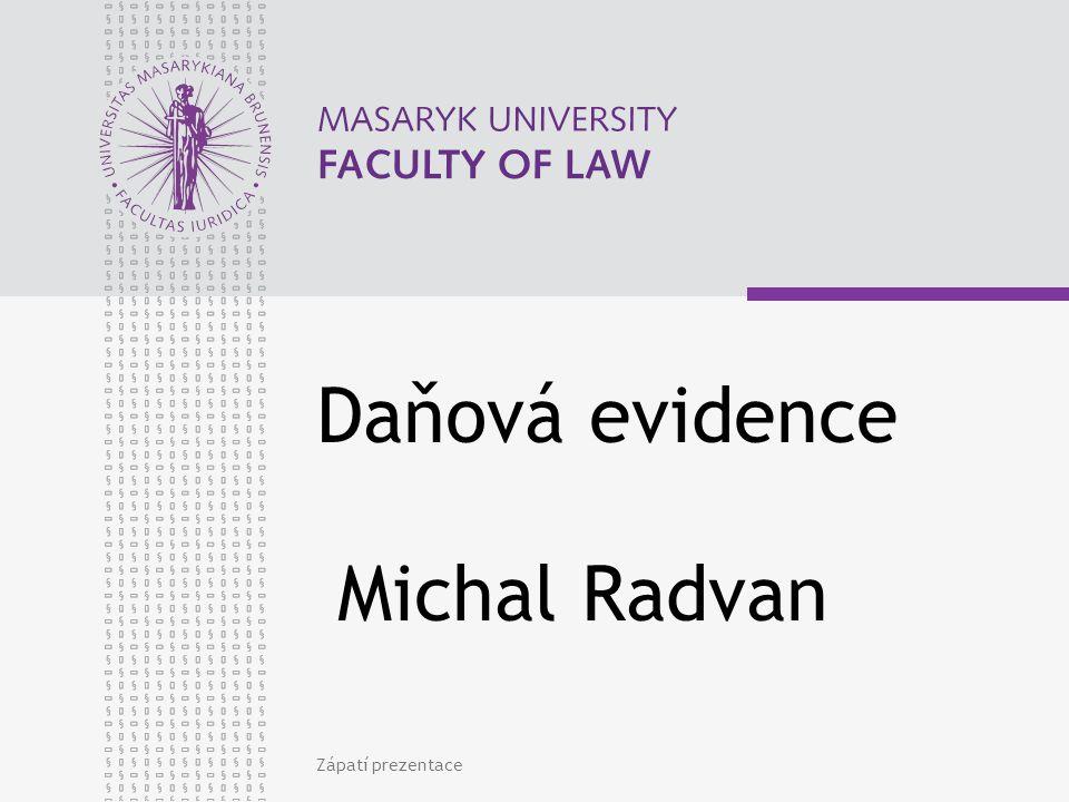 Daňová evidence Michal Radvan